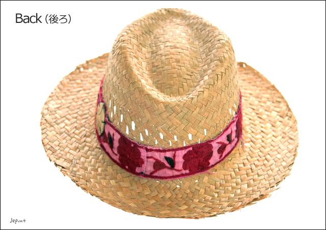 帽子■中折れリボン付きストローハット(麦わら帽子)