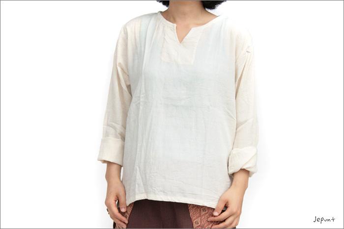 トップス■コットンクルタ長袖シャツ(オフホワイト)