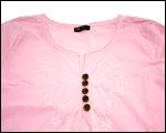 インド製 刺しゅう入り七分袖ブラウス(ピンク)
