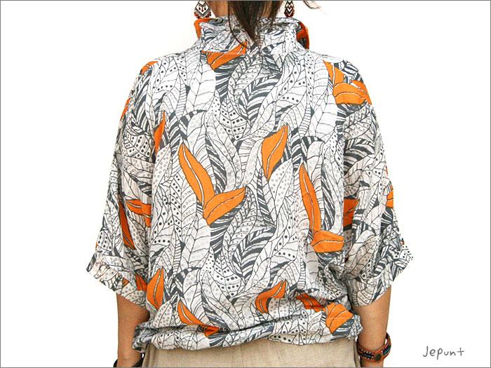 シャツ■レーヨンのドルマンスリーブ半そでシャツ(オレンジ)うしろ