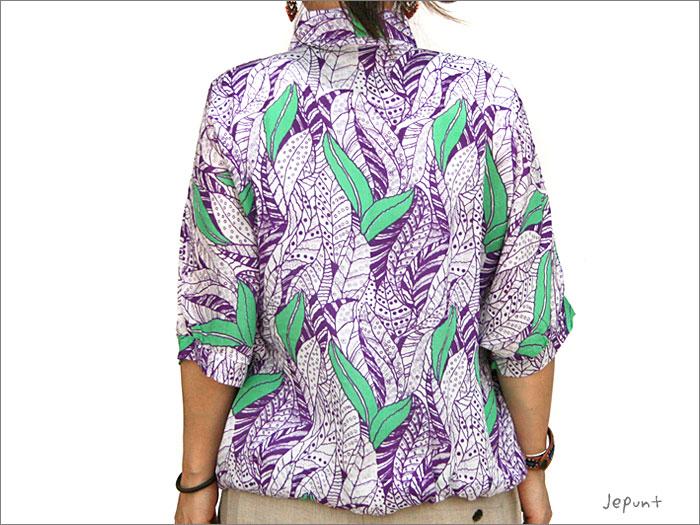 シャツ■レーヨンのドルマンスリーブ半そでシャツ(パープル)うしろ