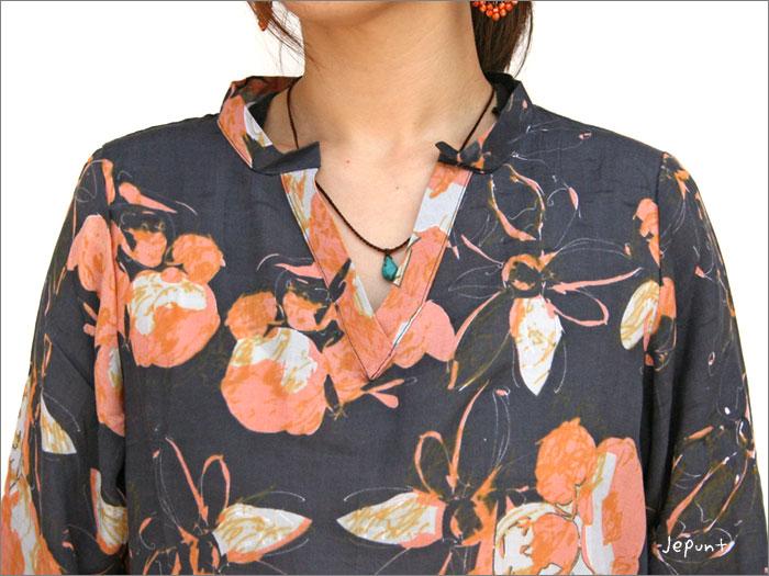 レーヨン七分袖プリントシャツ(ネイビー)首部分のデザイン