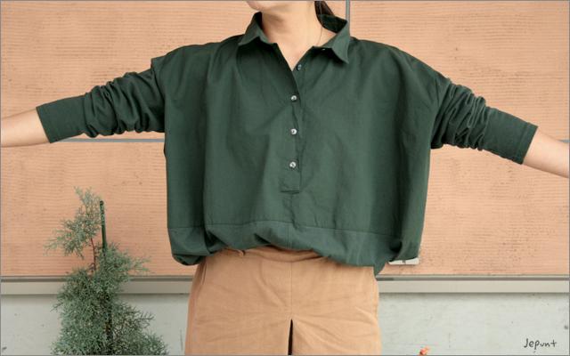 5つボタンゆったりシャツ(カーキ)