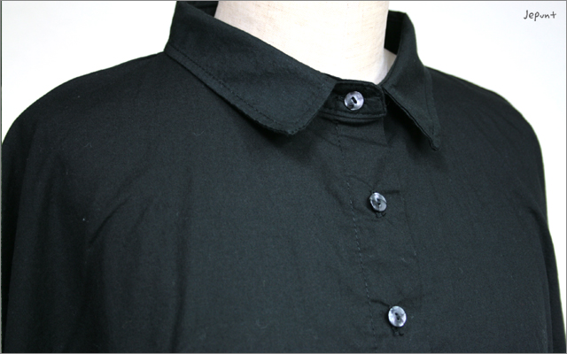 5つボタンゆったりシャツ(ブラック)