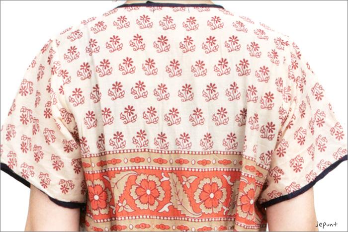 後ろもかわいい、インド製コットンの刺しゅうワンピース(05)