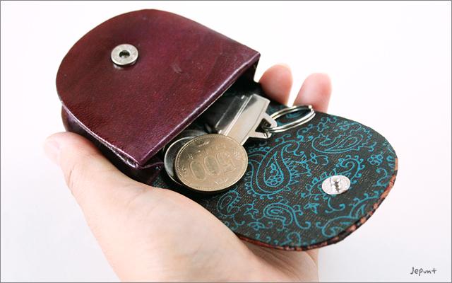 財布■ヤギ革製 花柄小銭入れ/コインケース(パープル/ブラック/レッド)
