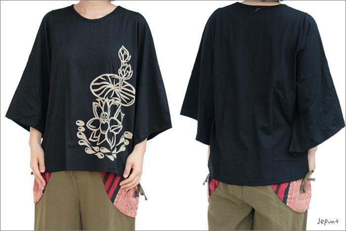 トップス■ロータスプリント七分袖のコットンシャツ(ブラック)