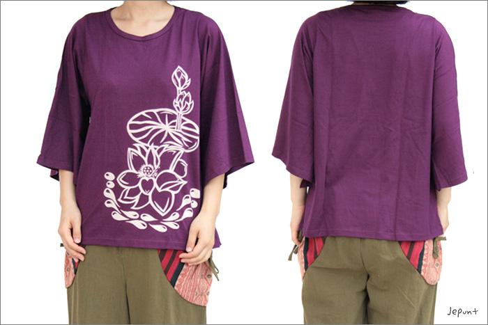 トップス■ロータスプリント七分袖のコットンシャツ(パープル)