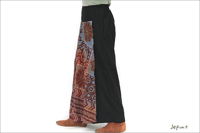 パンツ■刺し子の入ったスカート風パンツ(1)横