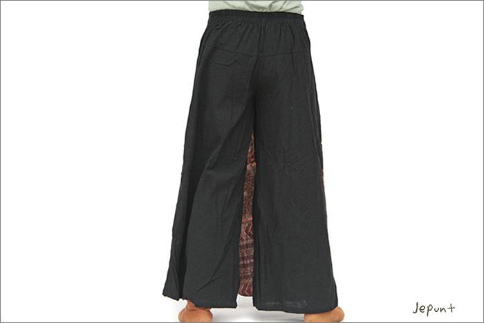 パンツ■刺し子の入ったスカート風パンツ(1)うしろ