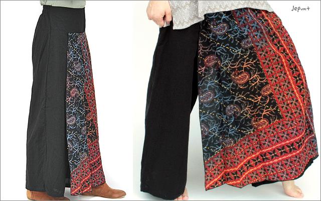パンツ■刺し子の入ったスカート風パンツ(2)横