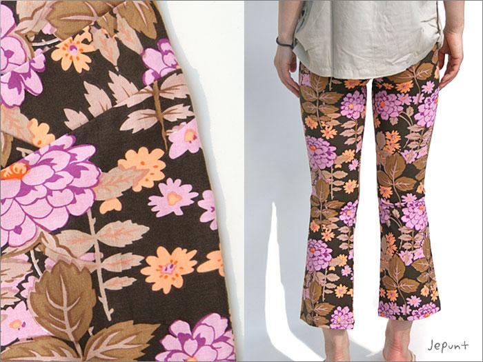 パンツ■ゴアパンツ(ヨガパンツ/ライクラ/ストレッチパンツ)七分丈(茶色にピンクの花柄)うしろ