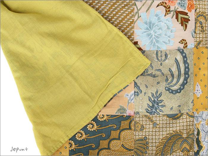 スカート■バティックパッチワーク 巻きスカート(イエロー)裏は肌さわりの良いコットン