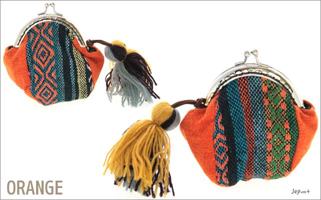 財布■エスニックがまぐち財布 フサ飾り付き小銭いれ(レッド/オレンジ/ピンク/パープル/ブラック/グレー/ブルー/カーキ)
