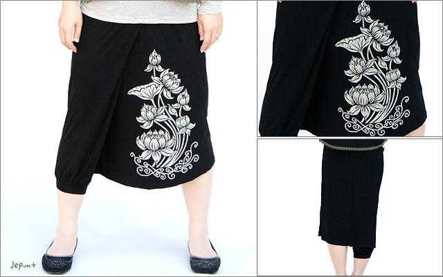 パンツ■ワイド&カシュクールパンツ風スカート(ブラック)