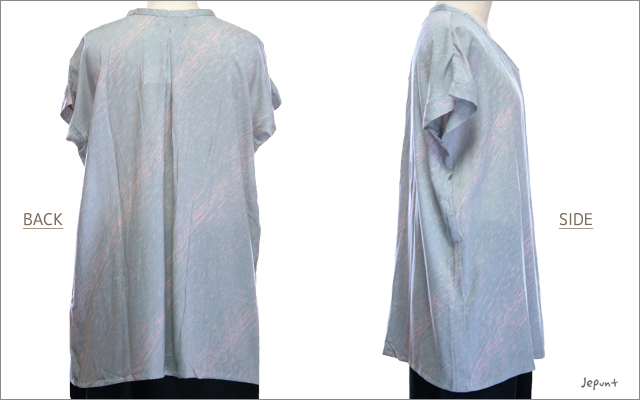 トップス■ななめ模様ミニ衿付きレーヨンTシャツ(ホワイト/グレー)