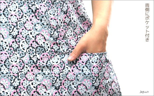 チュニック■半袖チュニックワンピース ポケット付き(丸花柄)