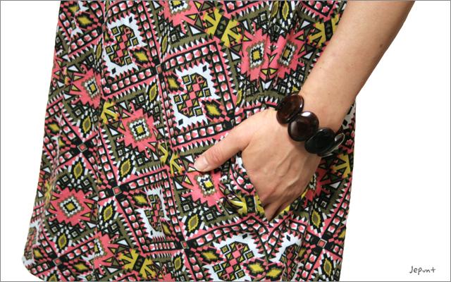チュニック■エスニック柄ポケット付き半袖チュニックワンピース(ピンク/イエロー)