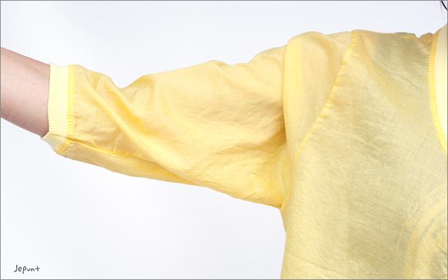 カーディガン■うすかる素材コットン100%七分袖カーディガン イエロー