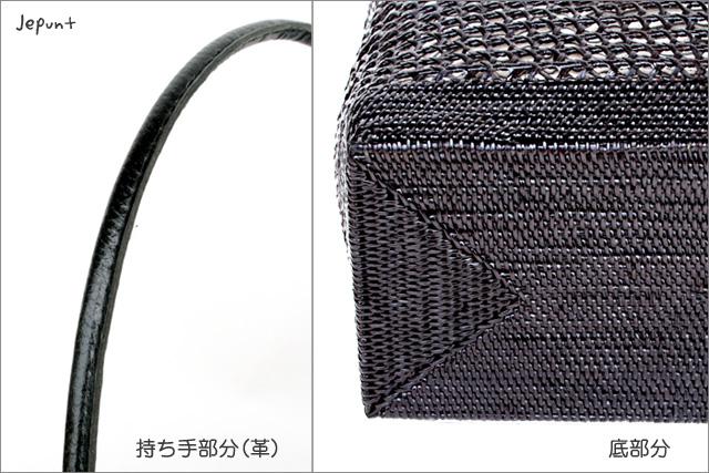 アタバッグ■革手提げバッグ ボーダー柄巾着付き(ブラック)