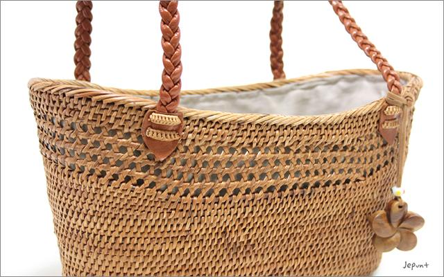 アタバッグ■巾着フタ付 革手提げ舟型カゴアタバッグ(ナチュラル)
