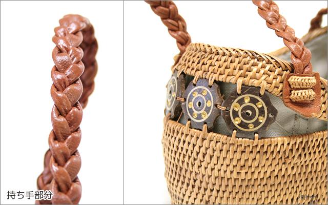 アタバッグ■巾着フタ付き 革手提げミニかごアタバッグ ココナッツ(ナチュラル)