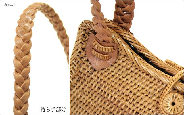 アタバッグ■ドット内布 三つ編み持ち手ドロップ(しずく)型 手提げかごアタバック(ナチュラル)