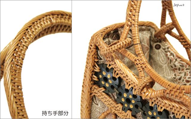 アタバッグ■手提げ バティック柄巾着ふた付き アタ製持ち手ラウンドかごアタバック(ナチュラル)