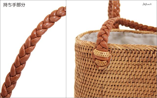 アタバッグ■バリ雑貨 巾着フタ付きオーバル型 手提げかごアタバッグ(51)ナチュラル