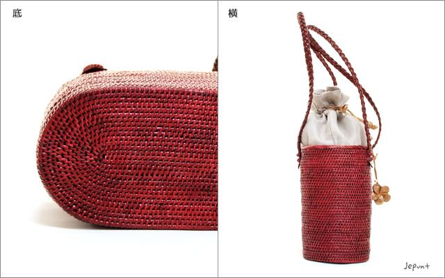 アタバッグ■バリ雑貨 巾着フタ付きオーバル型 手提げかごアタバッグ(52)レッド