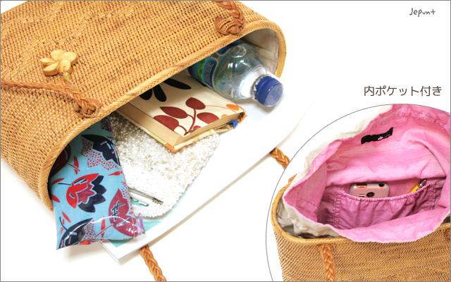 アタバッグ■巾着フタ付き 肩掛け手提げ兼用 山型模様入りかごアタバッグ(61)ナチュラル