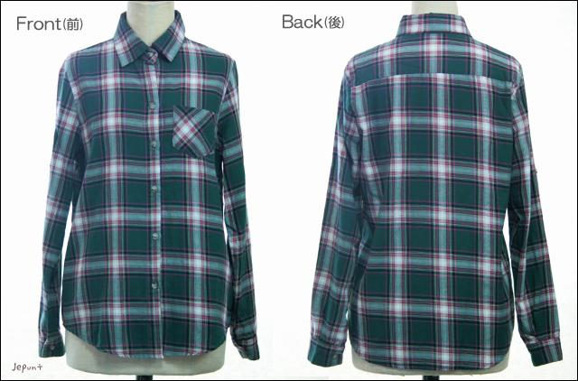 トップス■定番 チェックシャツ(グリーン)