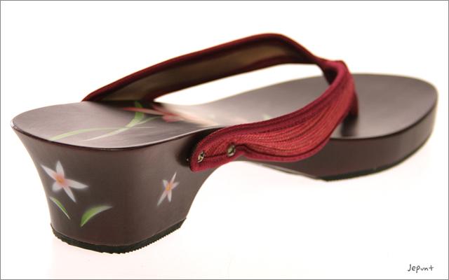 靴■ウッドサンダル 花がらペイント(レッド)