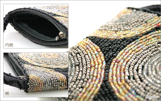 財布■ビーズ刺しゅうウォレット 財布 丸柄タイプC(ブラック/オレンジ/レッド)