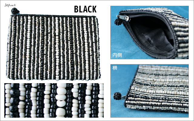 財布■ビーズ刺しゅうウォレット 財布(ブラック)