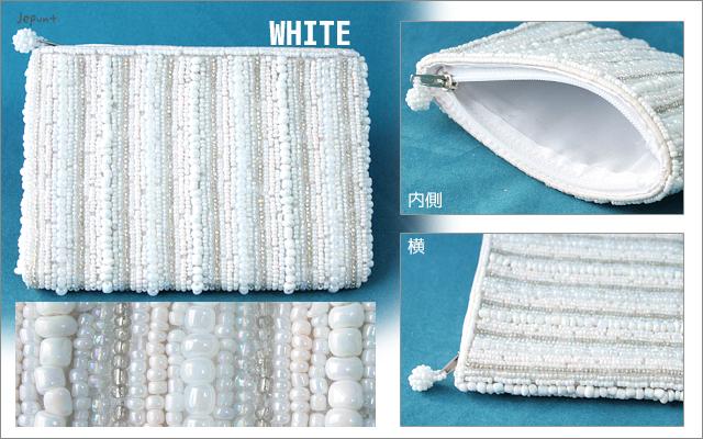 財布■ビーズ刺しゅうウォレット 財布(ホワイト)