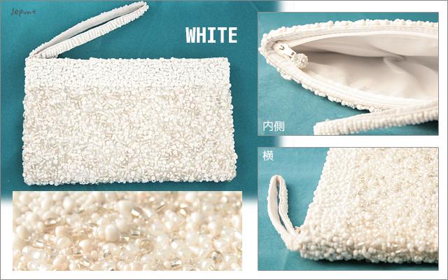財布■ビーズ刺しゅうウォレット 長財布(ホワイト)