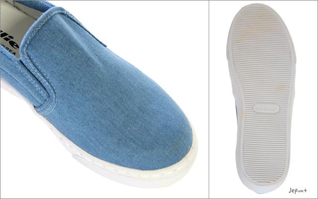 靴■キャンパス地スリッポンタイプのスニーカー/23cm(ネイビー/ブルー/ホワイト)