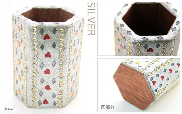 エスニック雑貨■きらきらラメの木製六角形ペンスタンド 文具雑貨