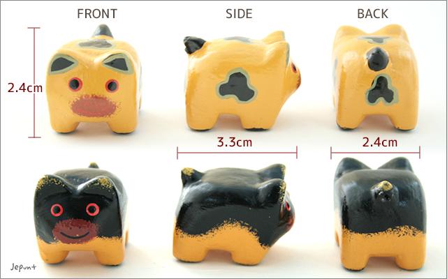 エスニック雑貨■幸せを運ぶ木彫りブタの置物3個セット(黒ブタ/黄ブタ)
