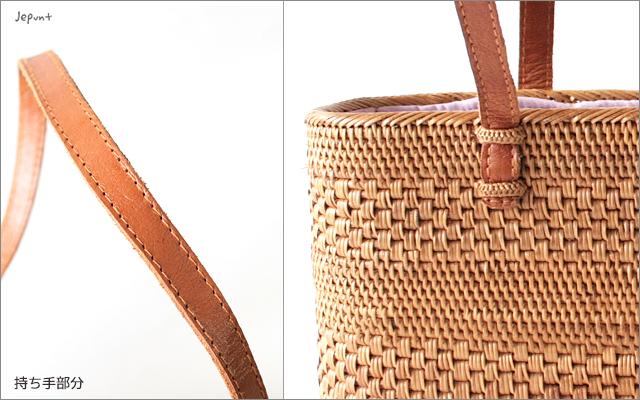 アタバッグ■アタ製バリ雑貨 巾着フタ付き肩掛け手提げ兼用 横長アタバッグ ナチュラル