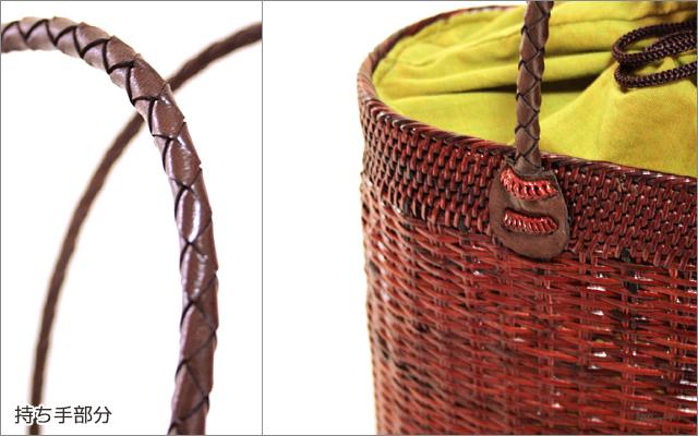 アタバッグ■アタ製バリ雑貨 革編み ボーダー巾着フタ付き手提げかごアタバッグ(13) ブラウン