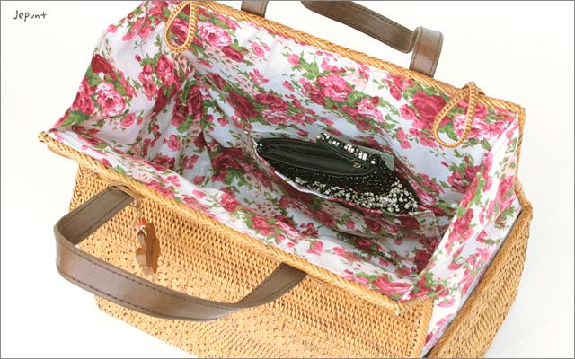 アタバッグ■アタ製バリ雑貨/角型 花布手提げかごアタバッグ ナチュラル