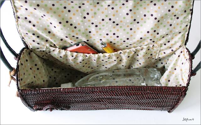 アタバッグ■アタ製バリ雑貨 フタ付き肩掛けアタバッグ ブラウン