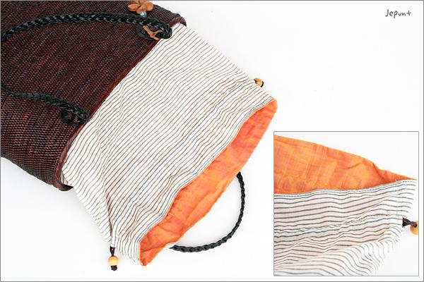 アタバッグ■アタ製 ボーダー巾着フタ付き ラウンド型肩掛けバッグ ブラウン