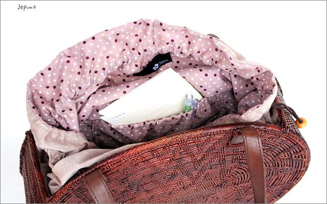 アタバッグ■アタ製 巾着フタ付き 肩掛け丸型アタバッグ ブラウン