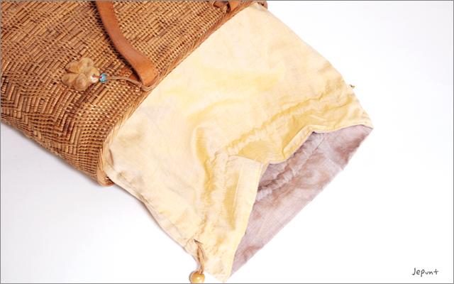 アタバッグ■アタ製バリ雑貨 革持ち手 巾着フタ付き手提げかごアタバッグ ナチュラル