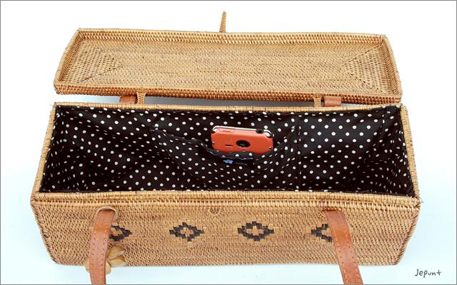 アタバッグ■アタ製バリ雑貨/箱型フタ付き手提げアタバッグ ナチュラル