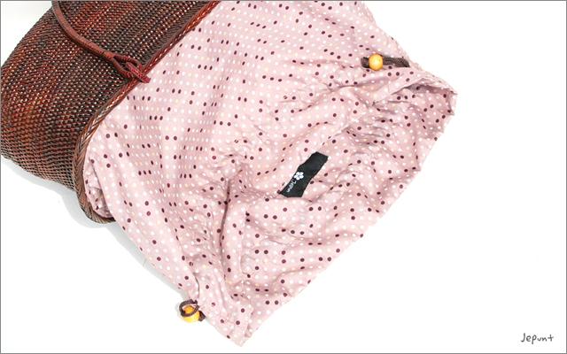 アタバッグ■アタ製 巾着フタ付き 手提げかご型アタバッグ ブラウン