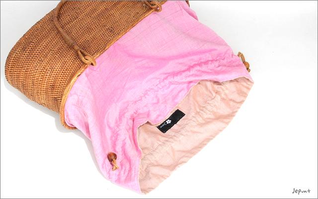 アタバッグ■アタ製 巾着フタ付き 手提げかご型アタバッグ ナチュラル
